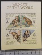 Solomon Islands 2013 Wild Cats Animals M/sheet Mnh - Solomon Islands (1978-...)