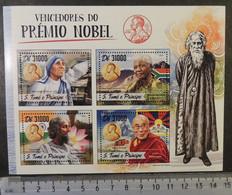 St Thomas 2016 Nobel Mother Teresa Religion Mandela Tagore Dalai Lama Women M/sheet Mnh - Fogli Completi