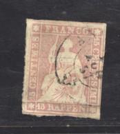 0ch  0964 -  Suisse  :  ZNr 24 Aa  (o)  Papier Mince ,  Fil De Soie Vert , - Used Stamps