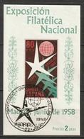 Spain 1958 Sc 877a Ed 1222 Souvenir Sheet Used Philatelic Expo Cancel - 1951-60 Used