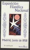 Spain 1958 Sc 878a Ed 1223 Souvenir Sheet MLH* - 1951-60 Unused Stamps