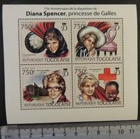 Togo 2012 Diana Spencer Royalty Children Red Cross M/sheet Mnh - Togo (1960-...)