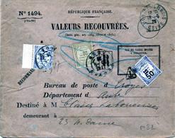 1494 Valeurs Recouvrées Recommandé Taxe 80 Centimes Seine  Pour Troyes Aube - 1877-1920: Semi-moderne Periode