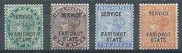 Faridkot Timbres-taxe YT N°1/4 Reine Victoria Surchargé Service Faridkot State Neuf/charnière * - Faridkot