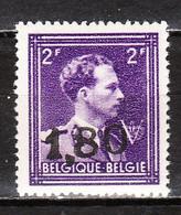 724V**  Leopold III Col Ouvert Surchargé GHISLENGHIEN - Bonne Valeur - Timbre Signé - MNH** - LOOK!!!! - 1946 -10%