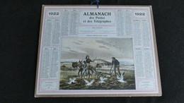 Almanach Des Postes Et Télégraphes 1922 - Labours D' Hiver Basse Cancale - Bon état Complet- Calendrier - Formato Grande : 1921-40