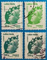 """France 2011 : Type Marianne De Beaujard """"Lettre Verte"""" N° 4593 à 4596 Oblitéré - Usati"""
