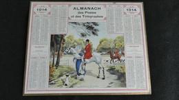 Almanach Des Postes Et Télégraphes 1914 - Rendez-vous De Chasse  - Bon état Complet- Calendrier - Big : 1901-20
