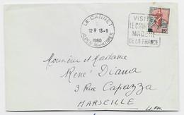 MARIANNE A LA NEF 25FR LETTRE DAGUIN ISOLE VISITEZ LE CANNET + HOROPLAN LE CANNET 13.1.1960 ALPES MARITIMES - Annullamenti Meccanici (pubblicitari)