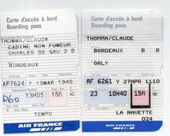 (aviation) Bordeaux/ Orly :LOT DE  2 Cartes  D'accès à Bord  AIR FRANCE  (PPP27823) - Unclassified
