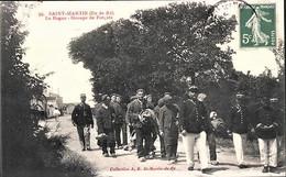 Rare Cpa St Martin Ile De Ré Le Bagne Groupe De Forçats Avec Bf - Prison