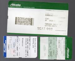 (aviation) Billet ALITALIA + 2 Cartes D'embarquement (lot De 3 Documents)   (PPP27824) - Unclassified