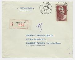 GANDON 50FR N° 732 SEUL LETTRE REC PARIS 8.11.1949 AU TARIF USAGE TARDIF - 1945-54 Marianne Of Gandon