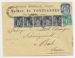 SAGE 1C BANDE DE 5+5C+15C LETTRE ESTISSAC AUBE MINERAUX CONVOYEUR LIGNE TROYES A SENS 7 FEVR 1893 POUR SUISSE - Railway Post