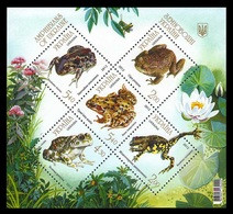 UKRAINE/UKRAINA 2012 MI.1305-1309** ,Yvert BF 92, Fauna. Amphibians, Frogs & Toads - Miniature Sheet - MNH - Ukraine