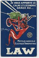CARTE COULEURS PUB MOTEURS AGRICOLE ELECTRIQUE LAW + DIABLE °ETS LA WISLER - Pubblicitari
