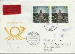 """DDR Brief """"Eilsendung Expres"""" Geithain 1990. Mi 3315 """"Wir Sind Das People"""". Ankunftsstempel. See Scans. - Storia Postale"""