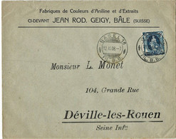 """1908, """" BASEL - FIL. B. B."""" Brief 25 C.  , A4353 - Briefe U. Dokumente"""