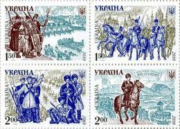 UKRAINE/UKRAINA 2010 MI.1119-22**,Yvert 987-90, History. Military. Ukrainian Army History, Battle Scenes - Block Of 4 - - Ucraina