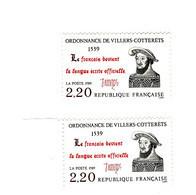 Ordonnance Villers-Cotterêts YT 2609b  Cédille Au Lieu De S à François . Voir Scan. Cote YT : 15 € Maury N° 2610a : 15 € - Variedades: 1980-89 Nuevos