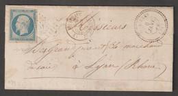 N°14 Pc 1151, Cachet Perlé Dunières, Cachet Montfaucon-du-velay , Sur Lettre Pour Lyon - 1853-1860 Napoleon III