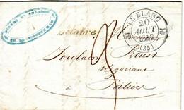 Cachet Type 12 LE BLANC + Cursive 35 BELABRE Indre , Lettre Avec Texte 20 Aout 1842 - 1801-1848: Précurseurs XIX