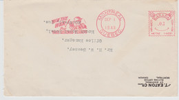 """Canada-1943 WW 2  T. Eaton & Co Department Store Montreal """"Win The War"""" Slogan Postmark Cover To Royal Hotel - Storia Postale"""