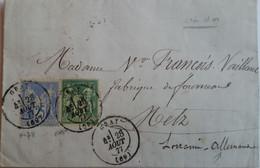 LAC De Gray Du 28/08/1877 Pour Metz Pour Metz Le 29 - Cachet Bureau De Passe 2598 Et De Metz Eingegangen En Violet - 1877-1920: Periodo Semi Moderno