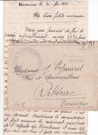 1918 - VINCENNES (SEINE ET OISE) - LETTRE FM De ECOLE D'INSTRUCTION Des TRACTEURS D'ARTILLERIE => RIBERAC (DORDOGNE) - Guerra Del 1914-18