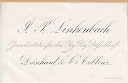 Alte Visitenkarte Linkenbach, Generalvertreter Düsseldorf, Deinhard & Co. Koblenz - Tarjetas De Visita