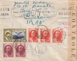 Iran Lettre De Theran  Pour Beyrouth Bel Affranchissement Censurée En  1940 - Iran