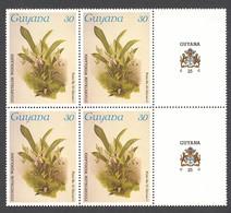 Guyana, 1985, Orchids, MNH Tab Block, Michel 1490 - Guiana (1966-...)