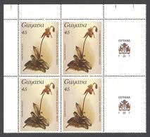 Guyana, 1986, Orchids, MNH Tab Block, Michel 1533 - Guiana (1966-...)
