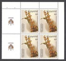 Guyana, 1986, Orchids, MNH Tab Block, Michel 1537 - Guiana (1966-...)