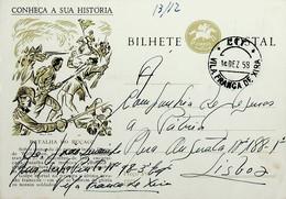 1958 Inteiro Postal Tipo «Conheça A Sua História» De 50 C. Enviado De Vila Franca De Xira Para Lisboa - Ganzsachen