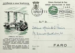 1958 Inteiro Postal Tipo «Conheça A Sua História» De 50 C. Enviado De Faro Localmente - Ganzsachen