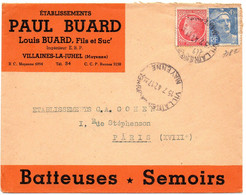 MAYENNE - Dépt N° 53 = VILLAINES La JUHEL 1947 = CACHET MANUEL A5bis + ETS BUARD - Manual Postmarks