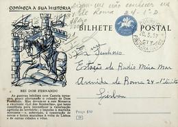1957 Inteiro Postal Tipo «Conheça A Sua História» De 50 C. Enviado Da Figueira Da Foz Para Lisboa - Ganzsachen
