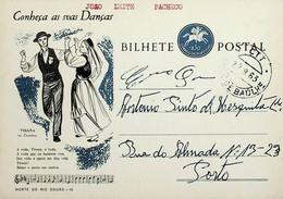 1963 Inteiro Postal Tipo «Conheça As Suas Danças» De 50 C. Enviado Do Arco Do Baúlhe Para O Porto - Ganzsachen