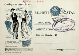 1963 Inteiro Postal Tipo «Conheça As Suas Danças» De 50 C. Enviado De Guimarães Para O Porto - Ganzsachen