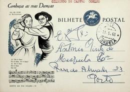 1963 Inteiro Postal Tipo «Conheça As Suas Danças» De 50 C. Enviado De Tondela Para O Porto - Ganzsachen