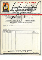 51 - Marne - REIMS - Facture VILLE DE REIMS - Exposition Internationale - 0000 - REF 184B - 1900 – 1949