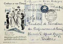 1963 Inteiro Postal Tipo «Conheça As Suas Danças» De 50 C. Enviado Das Caldas Da Rainha Para Lisboa - Ganzsachen