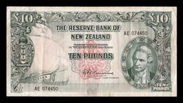 Nueva Zelanda New Zealand 10 Pounds 1967 Pick 161d BC F - New Zealand