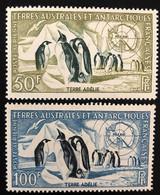 TAAF Yvert N° 2 Et 3 , Poste Aérienne, Timbres Splendides Sans Aucune Trace De Charnière - Luftpost
