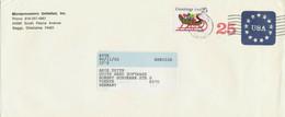 "USA 1991 25 C Stars PS Env Uprated W 25 C Christmas POSTMARK-ERROR ""BEGGS, OK"" - Covers & Documents"