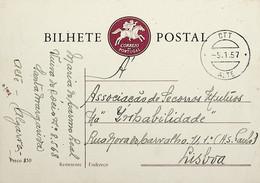 1957 Inteiro Postal Tipo «Emblema Dos CTT» De 50 C. Enviado De Alte (Loulé) Para Lisboa - Ganzsachen