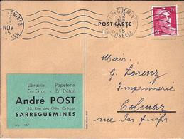 TYPE MARIANNE DE GANDON N°712 SUR CP COMMERCIALE DE SARREGUEMINES/22.11.45 - 1945-54 Marianne De Gandon