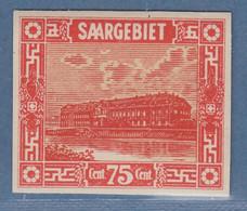 Saar 1922 Probedruck In Anderer Farbe Ungez. Mi.-Nr. 93 P1: 75 Cent Rot  - Settori Di Coordinazione