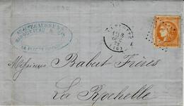 1872- Lettre De LA FLOTTE  ( Charente Maritime ) Cad T16 Affr. N°48 Pour La Rochelle - 1849-1876: Classic Period